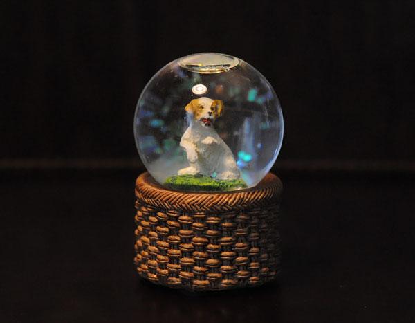 Стеклянный шар с рассел терьером